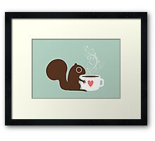 Squirrel Loves Coffee Framed Print