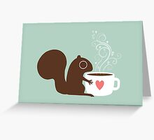 Squirrel Loves Coffee Greeting Card