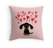 Cute Dachshund Puppy with Valentine Hearts Throw Pillow