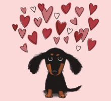 Cute Dachshund Puppy with Valentine Hearts Kids Clothes