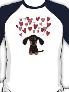 Cute Dachshund Puppy with Valentine Hearts T-Shirt