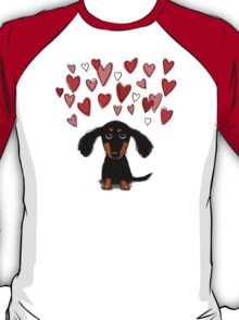 Cute Dachshund Puppy with Valentine Hearts T-Shirt