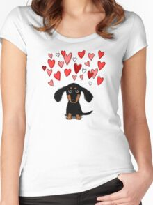 Cute Dachshund Puppy with Valentine Hearts Women's Fitted Scoop T-Shirt