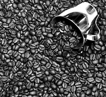 Coffee beans in black and white by ikshvaku