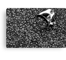 Coffee beans in black and white Canvas Print