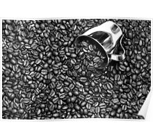 Coffee beans in black and white Poster