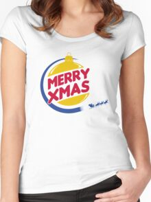 Burger Xmas Women's Fitted Scoop T-Shirt