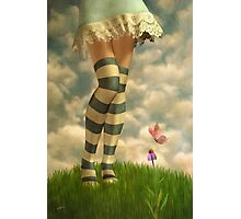 Cute Girl with Striped Socks Photographic Print