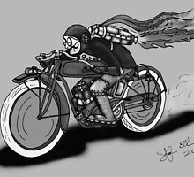 INDIAN MOTORCYCLE STEAMPUNK STYLE (Black and White) by squigglemonkey