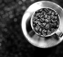 Coffee beans with black and white by ikshvaku