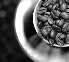 Coffee beans with black and white Sticker