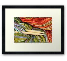 yarn and knitting needles Framed Print
