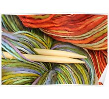 yarn and knitting needles Poster