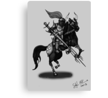 KNIGHT ON HORSE (BLACK AND WHITE) Canvas Print
