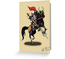 BLACK KNIGHT ON HORSE Greeting Card