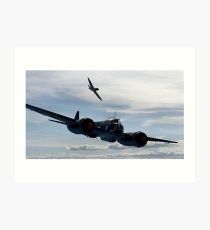 World War 2 Print Battle of Britain - Junkers Ju 88 shadowed by a Spitfire - WW2 Art Print