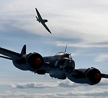 World War 2 Print Battle of Britain - Junkers Ju 88 shadowed by a Spitfire - WW2 by verypeculiar