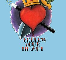 Follow Your Heart Tattoo Flash by ColeC