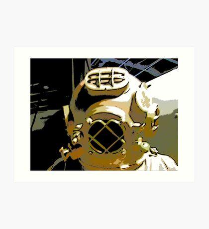 Comic Abstract Diving Helmet Art Print