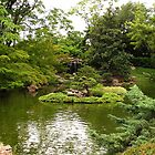 Japanese Garden Waterfall and Pond by Jamaboop