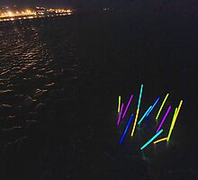 Glowsticks on Instow beach by Richard Windsor