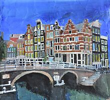 Amsterdam, Canals and Bridge, Art by Andrew Reid Wildman by Andrew Reid Wildman