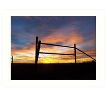 Fence Post at Sunrise Art Print