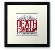 Awesome 'Death from Below' U.S. Submarine Force Red and Gray T-Shirt Framed Print