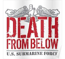 Awesome 'Death from Below' U.S. Submarine Force Red and Gray T-Shirt Poster