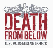 Awesome 'Death from Below' U.S. Submarine Force Red and Gray T-Shirt by Albany Retro