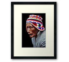 Aymara Man. Taquile Island. Titikaka Lake, Bolivia Framed Print