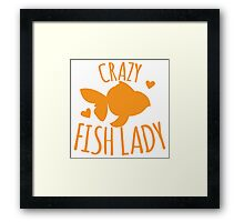 Crazy Fish lady with cute little goldfish Framed Print