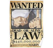 trafalgar law wanted poster Poster
