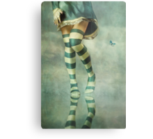 Lovely Girl with Striped Socks Metal Print