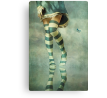 Lovely Girl with Striped Socks Canvas Print