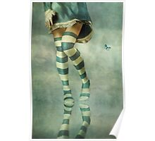 Lovely Girl with Striped Socks Poster