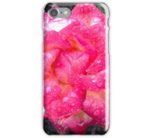 PINK AND WHITE ROSE AND RAINDROPS  iPhone Case/Skin