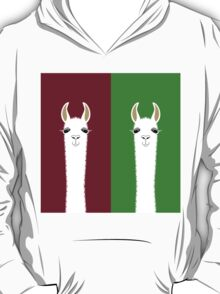 LLAMA PORTRAITS - RED & GREEN T-Shirt