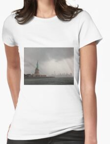 Stormy Sky Lady Liberty Womens Fitted T-Shirt