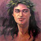 Portrait of Ricki with laurel wreath by Roz McQuillan