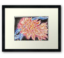 iSun Electric Glowing Sun Rays Abstract Drawing Design Framed Print