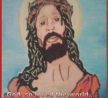 Jesus inscribed with John 3:16 by damon  milton