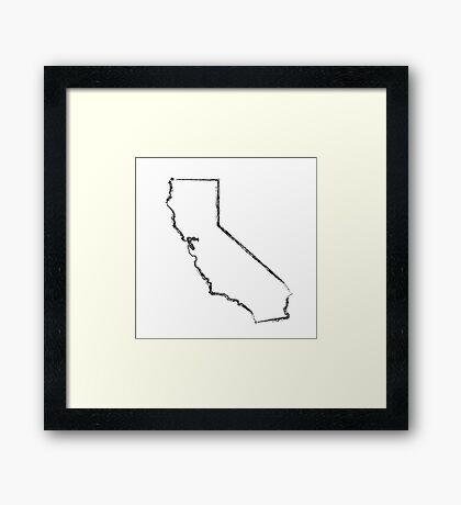 California State Ink Brush  Framed Print