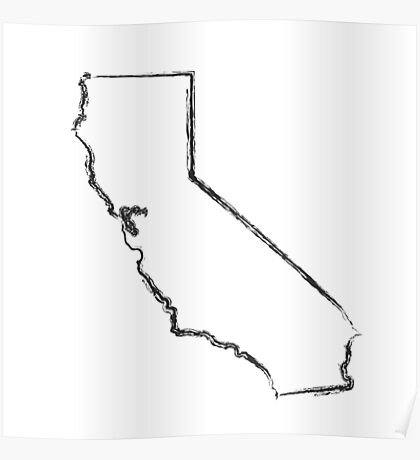 California State Ink Brush  Poster