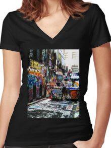 Melbourne Graffiti Women's Fitted V-Neck T-Shirt
