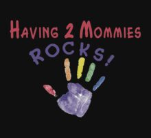 Having 2 Mommies ROCKS! (for dark colors) Kids Clothes