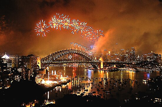 Reflections of New And Old - New Years Eve , Sydney Harbour    by Philip Johnson