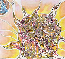 Sun and Earth Abstract Drawing Design by Adri Turner