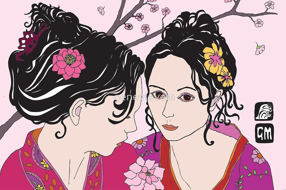kimono girls with rose by genevievem