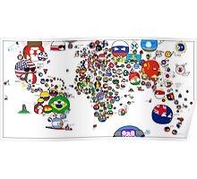 Polandball Countryball World Map | Countryballs Meme Poster
